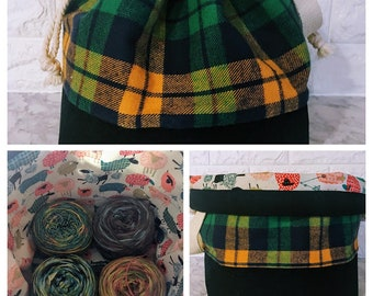 Green, Navy and Yellow Plaid Large Drawstring Knitting Bag