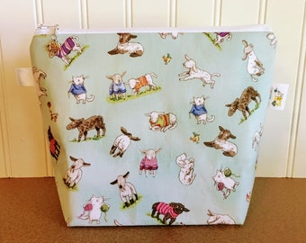 Sheep and Cats Knitting Project Bag - Small / Sock Size
