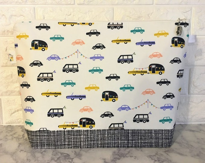 Featured listing image: Cars and Campers Large Knitting Project Bag