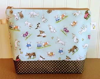 Sheep and Cats Knitting Project Bag - Medium / Shawl Size