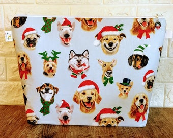Christmas Dog Knitting Bag Large Size