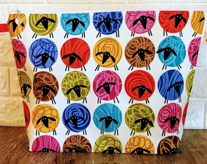 Featured listing image: Colorful Sheep Knitting Project Bag - Large / Sweater Size