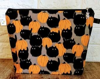 Halloween Cats Knitting Project Bag - Medium / Shawl Size