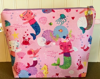 Ridiculous Extreme Pink and Purple Kitty Mermaid Knitting Project Bag