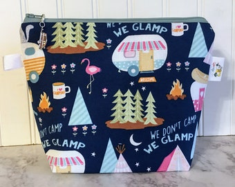 Campers and Flamingos Knitting Project Bag - Small / Sock Size