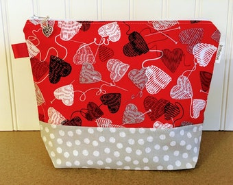 Sock size Valentines Knitting bag / Small