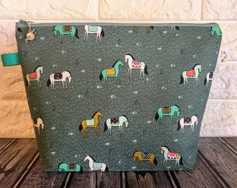 Horses Knitting Project Bag