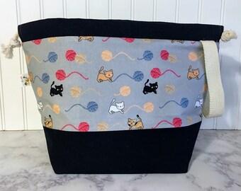 Large Cat Drawstring Knitting Bag