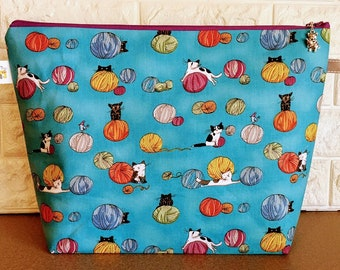 Cats and Yarn Balls Knitting Large Project Bag