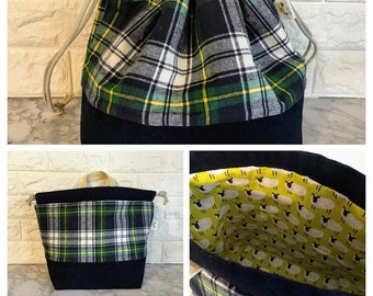 Plaid Large Drawstring Bag