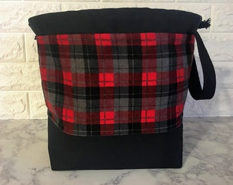 Red, Gray and Black Plaid Drawstring Knitting Project Bag Bag