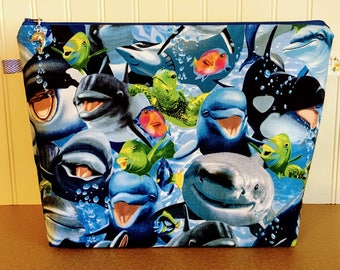 Ocean Life  Knitting Bag - Large Size