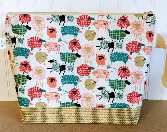 Featured listing image: Unraveling Sheep Large Knitting Project Bag