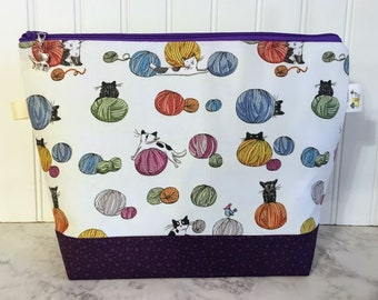 Cats chasing Yarn Project Bag - Medium / Shawl Size