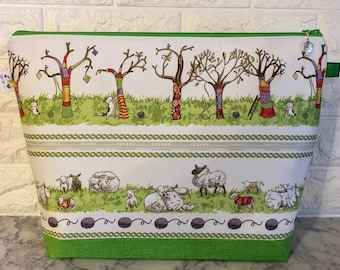 Large Cat and Sheep Yarn Bomb Knitting Bag