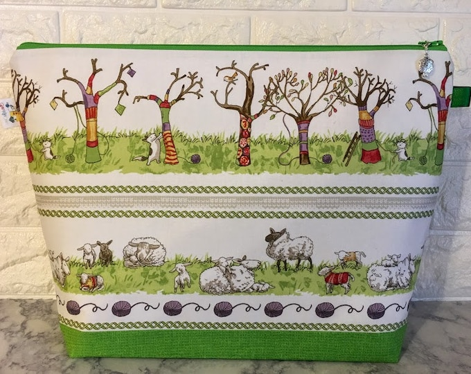 Featured listing image: Large Cat and Sheep Yarn Bomb Knitting Bag