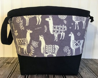 Large Llama Drawstring Knitting Bag