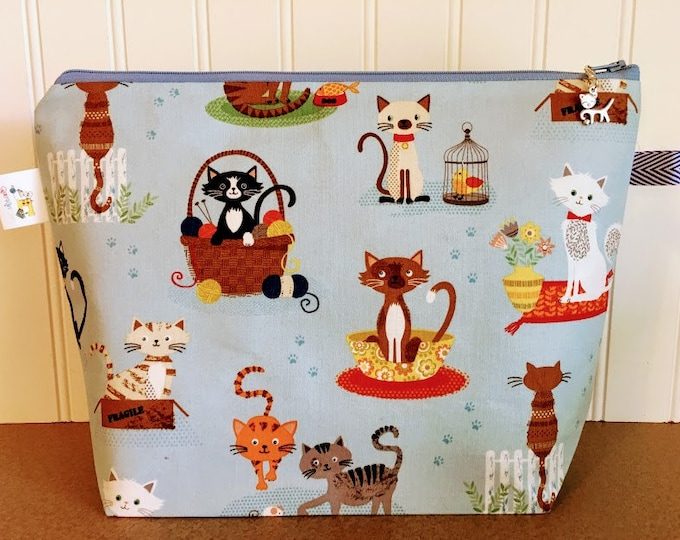 Featured listing image: Cats in Baskets Project Bag - Medium / Shawl Size