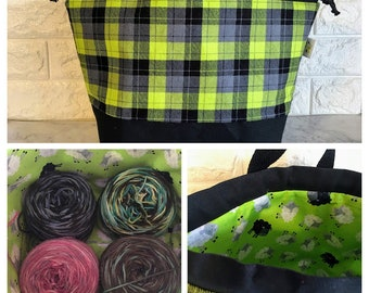 Green and Gray plaid Large Drawstring Knitting Bag