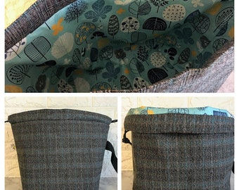 Black and Teal Plaid Large Knitting Project Bag