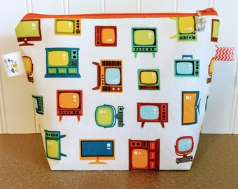Retro Televisions Knitting Project Bag - Small / Sock Size