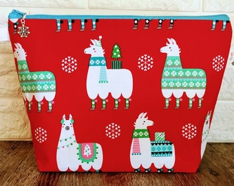 Llama Christmas Knitting Project Bag - Medium / Shawl Size