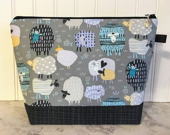 Patterned Sheep Knitting Project Bag - Medium / Shawl Size