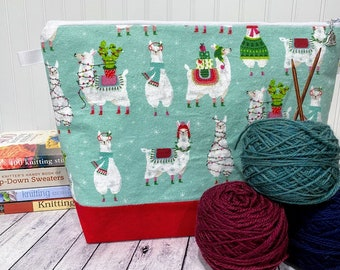 Knitting Project Bag Christmas, Llama Knitting Project Bag, Project Bag Zipper, Zippered Project Bag, Yarn Tote Bag, Crochet Project Bag