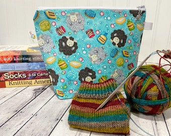 Small Project bag for Knitting or Crochet. Zippered Bag features Sheep and is size for Sock Knitting, other small knitting / crochet project