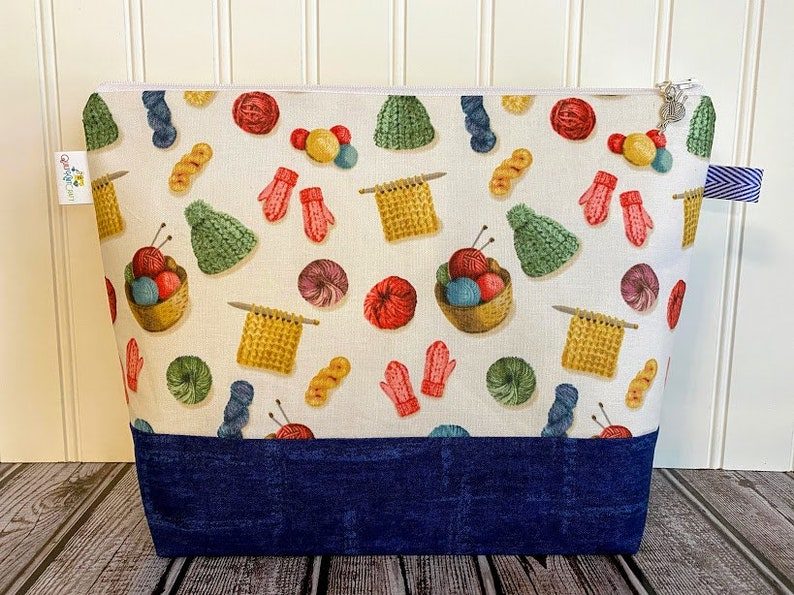 Knitting Bag Knitting Project Tote Knitting Project Bag image 0