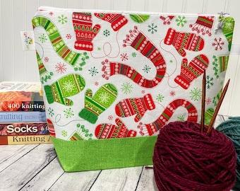 Christmas Knitting Project Bag, Holiday Knitting Project Bag, Project Bag Zipper, Zippered Knitting Bag, Knitting Bag, Crochet Project Bag