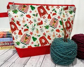 Knitting Project Bag, Christmas Knitting Bag, Project Bag, Knitting Tote, Knitting Caddy, Yarn Bowl, Yarn Tote Bag, Crochet Project Bag