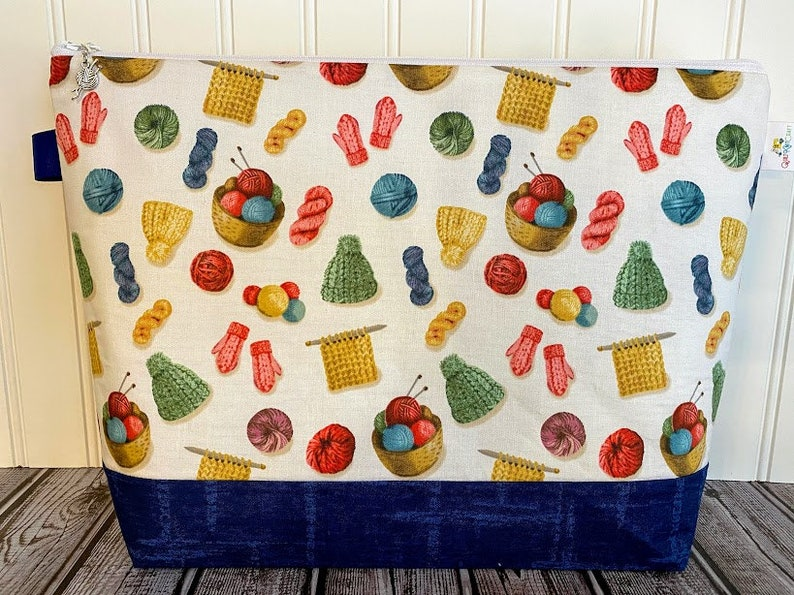 Knitting Bag Knitting Project Bag Large Knitting Project image 0
