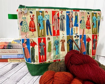 Large Project Back featuring vintage images for Knitting, Crochet, Cross Stitch or Needlework. Perfect for Sweater Knitting, Crochet Afghan