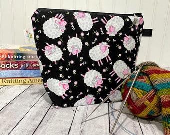 Knitting Project Bag, Sheep Project Bag, Knitting Bag, Knitting Project Bag Zipper, Small Knitting Bag, Knitting Quotes Project Bag