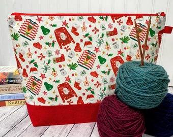 Knitting Project Bag, Christmas Knitting Bag, Large Knitting bag, Ugly Christmas Sweater Project bag, Knitting Project Bag Zipper