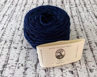 Indigo dyed yarn, Destash Yarn, Worsted Weight Yarn, Yarn Destash, Romney Wool Yarn,  Indie Dyed Yarn, River Cottage Farm Fibers