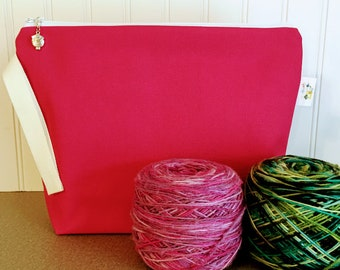 Canvas Knitting Project Bag / Medium Size