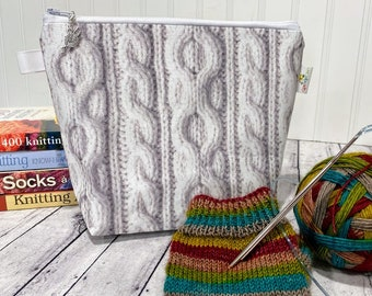Small Knitting Project Bag, Sock Sack, Sock Project Bag, Small Knitting Bag, Knitting Bag Zipper, Project Bag Zipper, Knitting Bag small