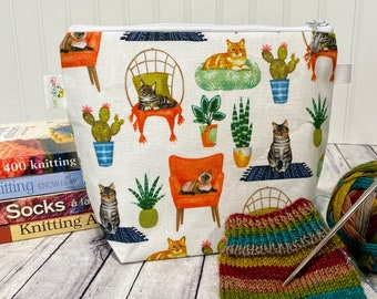 Small Knitting Project Bag Zipper Cat, Sock Project Bag, Crochet Project Bag, Knitting Pouch, Notions Pouch