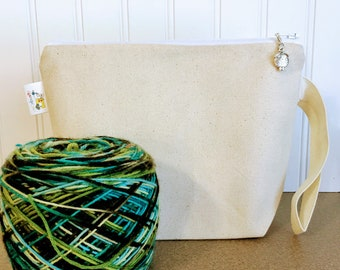 Canvas Knitting Project Bag / Small Size