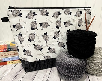 Knitting Project Bag Sweater, Knitting project Bag, Knitting Bag, Knitting Tote Bag, Zipper Project Bag, Crochet Project Bag, Sheep Bag