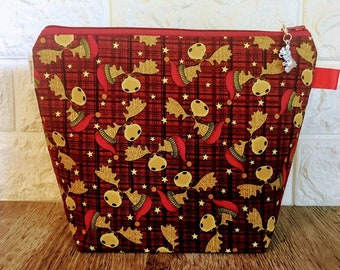 Moose Christmas Project Bag - Small / Sock Size