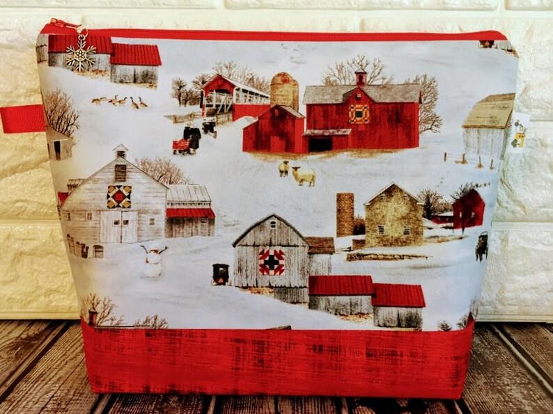 Christmas Knitting Project Bag Yarn Tote Knitting Bag Sheep image 0