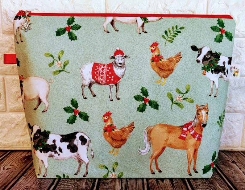 Knitting Project Bag Christmas Zippered Project Bag Sweater image 0