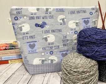Sheep large knitting project bag with zipper. Knitting project bag big size for sweater, blankets or shawl. Zippered pouch for yarn projects
