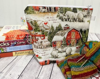 Knitting Project Bag, Zippered Project Bag, Sheep Knitting Bag, Christmas Project Bag, Yarn Bowl, Knitting Bowl, Project Bag Zipper
