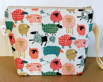 Patterned Sheep Knitting Project Bag - Small / Sock Size
