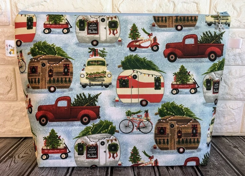 Christmas Knitting Project Bag Knitting Zippered Bag image 0
