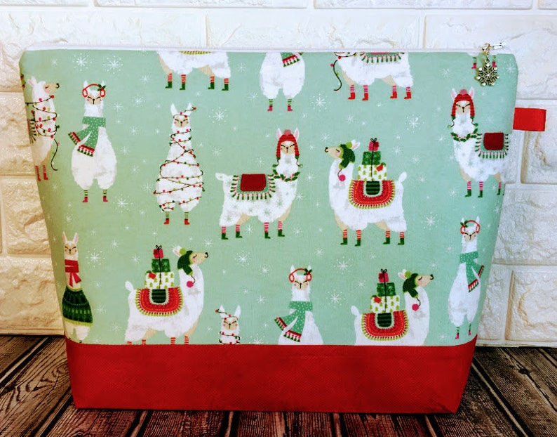 Knitting Project Bag Christmas Llama Knitting Project Bag image 0